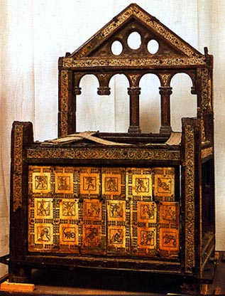 The chair of Peter, with 18   panels showing the labours of Hercules